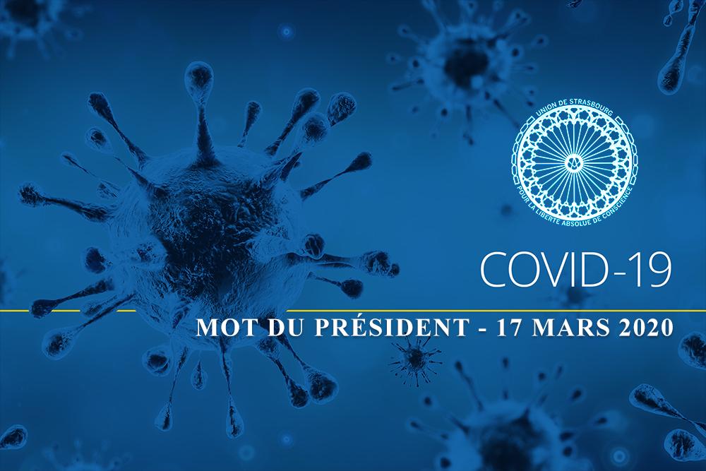 MOT DU PRÉSIDENT CONCERNANT LA PANDÉMIE DU CORONAVIRUS – 17 MARS 2020